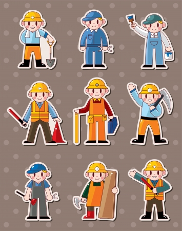 cartoon worker stickers  Vector