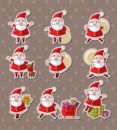 cartoon santa claus Christmas stickers  Vector