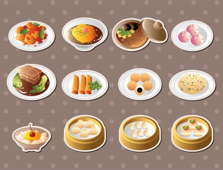 Chinese food stickers Vector