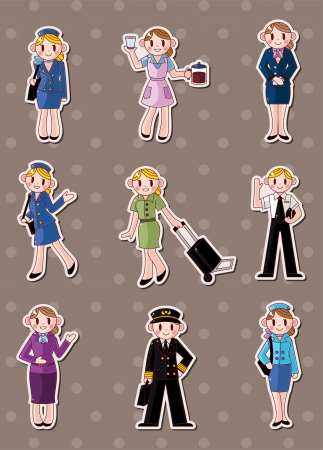 cartoon flight attendantpilot stickers  Vector