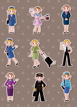 cabin attendant: cartoon flight attendantpilot stickers  Illustration