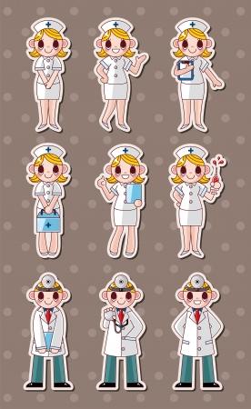 enfermera: dibujos animados doctor y la enfermera pegatinas