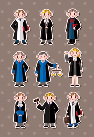 cartoon Judge stickers  Vector
