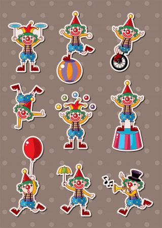 circus stage: clown stickers