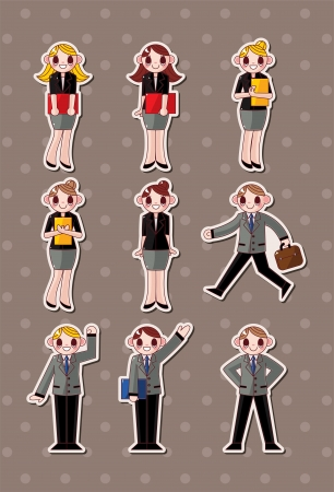 cartoon office workers,businessman stickers Vector