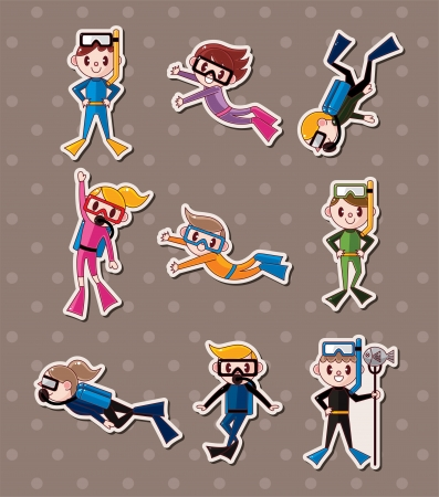 diver: diver stickers  Illustration