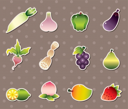 vagetable stickers Vector