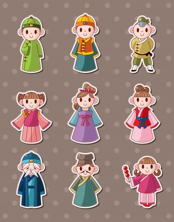 chinese dress: chinese people stickers  Illustration