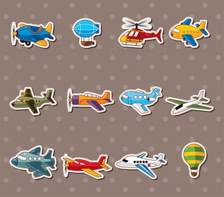 parachuting: cartoon airplane stickers