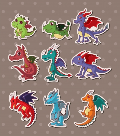 fire dragon stickers  Vector