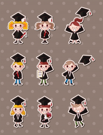 Cartoon Graduate students stickers  Vector