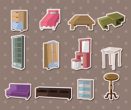 dressing table: cute cartoon furniture stickers