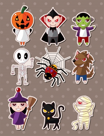 Halloween monster stickers Vector