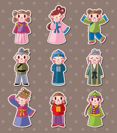national costume: chinese people stickers  Illustration