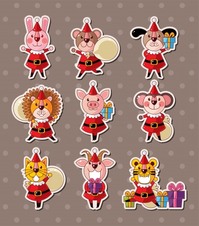 animal xmas stickers Vector