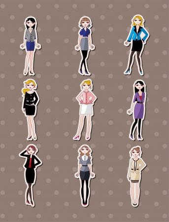 kantoor vrouw stickers Stock Illustratie
