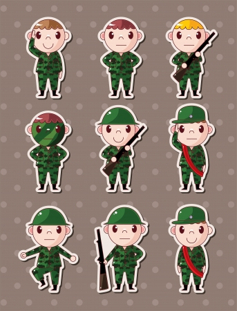 soldier with rifle: soldier stickers  Illustration