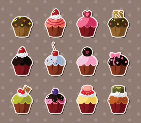cup cakes: cup-cake stickers  Illustration