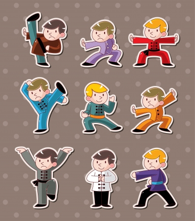cartoon chinese Kung fu stickers Stock Vector - 15387001