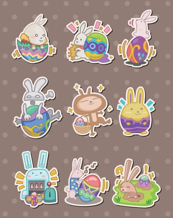 cartoon easter rabbit and egg stickers  Vector