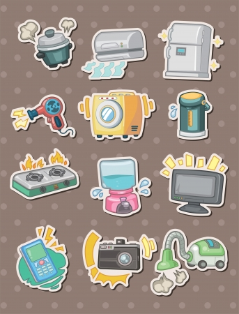 vacuuming: cartoon Appliance stickers Illustration