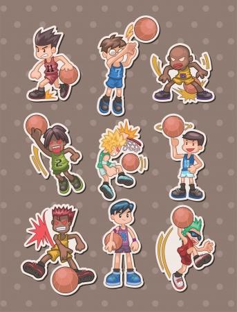 deportes caricatura: dibujos animados pegatinas jugador de baloncesto Vectores