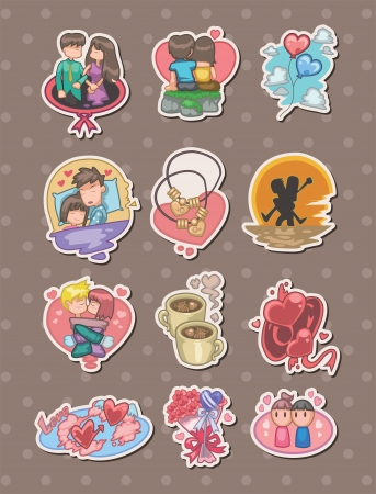 cartoon Valentines Day stickers  Vector