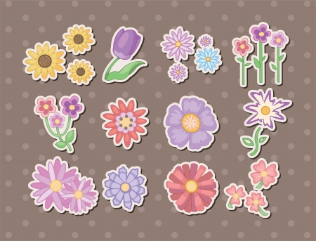 chrysanthemums: cartoon flower stickers Illustration