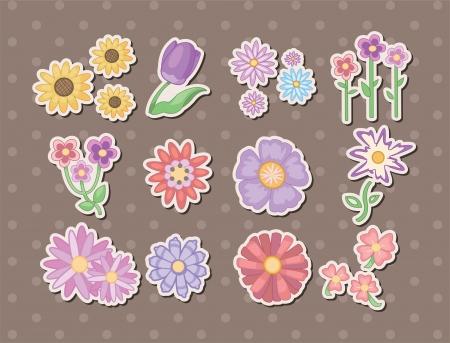 cempasuchil: pegatinas de dibujos animados de flores