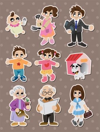cartoon family Stickers,Label  Illustration