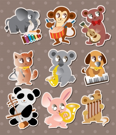 triangle musical instrument: animal play music stickers