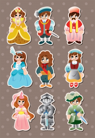 renaissance woman: cartoon medieval people stickers
