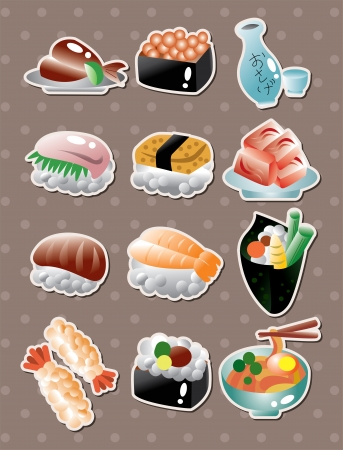 Pegatinas comida japonesa Foto de archivo - 15549216