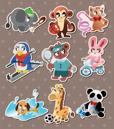 animal sport player stickers Vector