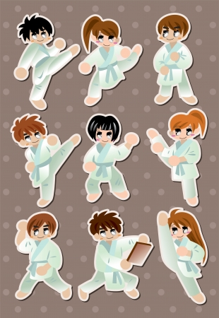 cartoon Karate Player stickers  Vector