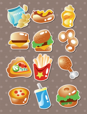fast food stickers Stock Vector - 15549178