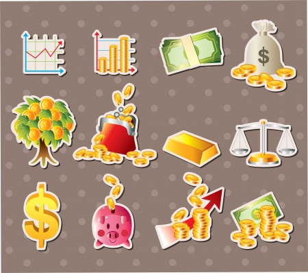 cartoon Finance & Money stickers  Vector