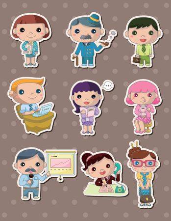 happy client: office worker stickers Illustration