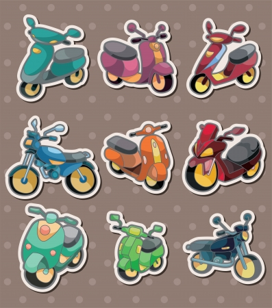 cartoon motorcycle stickers  Vector