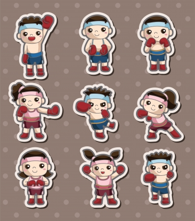 boxer player stickers Vector