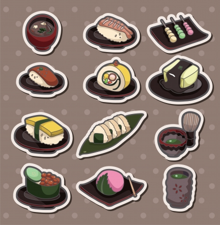 cartoon Japanese food stickers  Vector