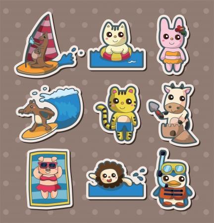 summer animal stickers Illustration