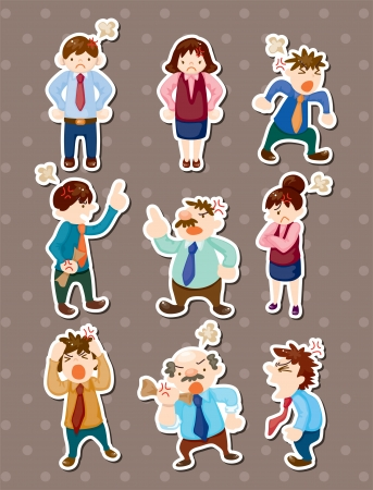 angry office worker stickers Vector