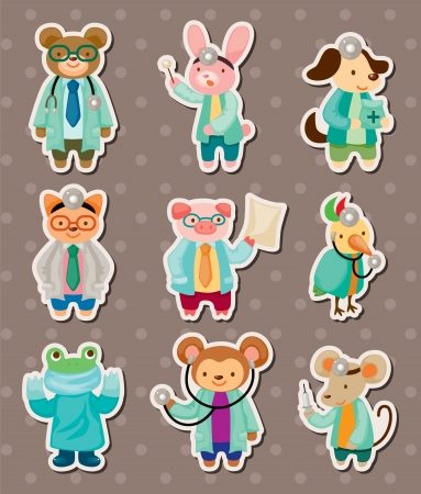animal doctor stickers Vector