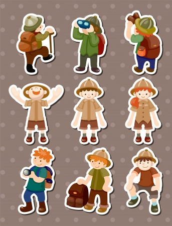 set of Adventurer people stickers  Vector