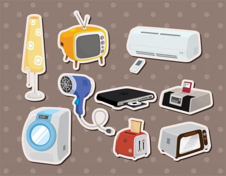home appliances: Electrodom�sticos Hogar de dibujos animados pegatinas Vectores