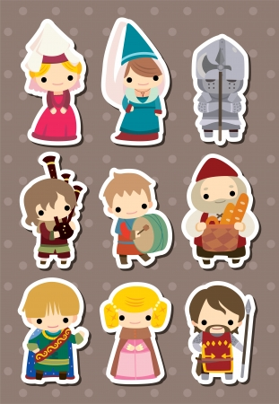 Medieval people stickers Vector