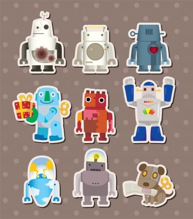 robot caricatura: sticers dibujos animados de robots Vectores