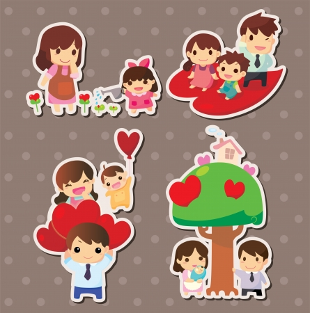 cartoon family stickers Vector