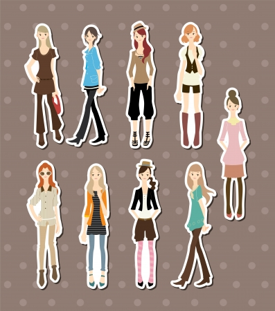 hair style set: beauty girl stickers  Illustration